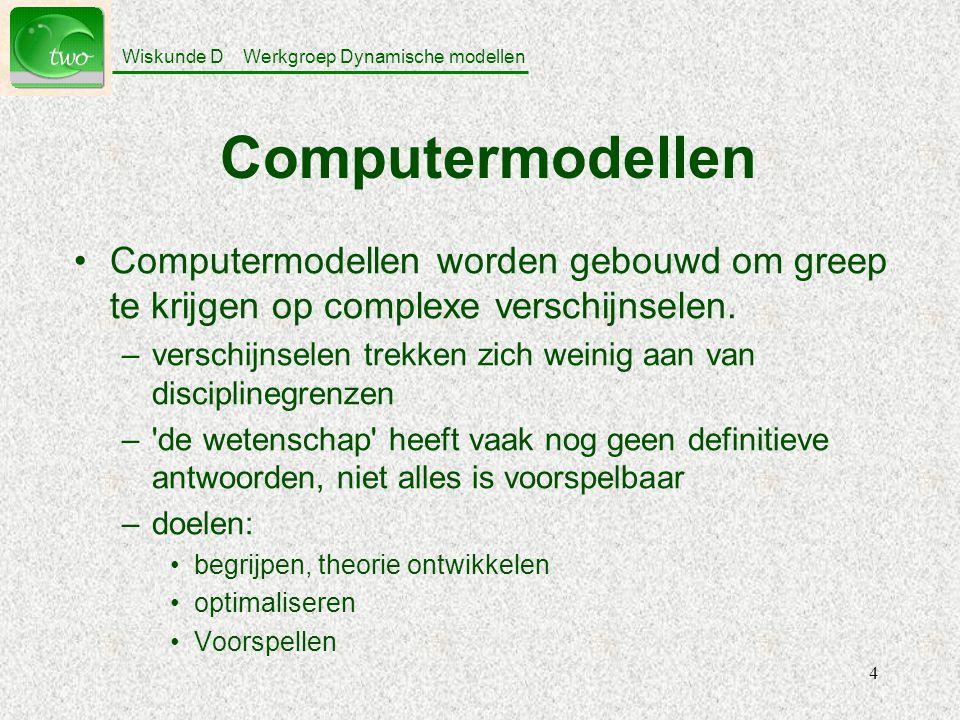 Computermodellen Computermodellen worden gebouwd om greep te krijgen op complexe verschijnselen.