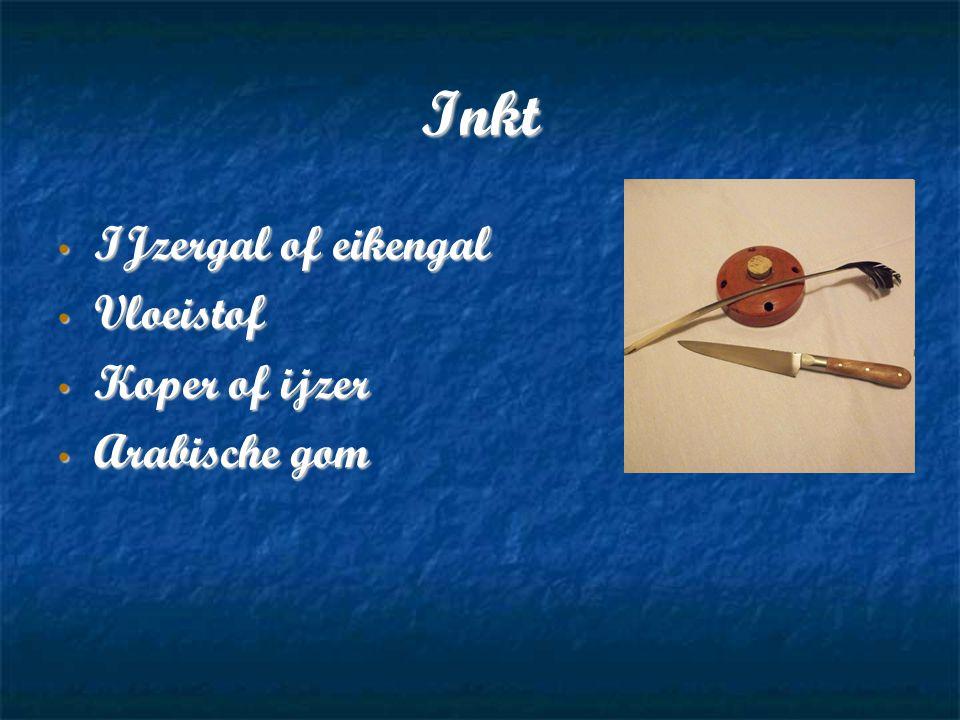 Inkt IJzergal of eikengal Vloeistof Koper of ijzer Arabische gom