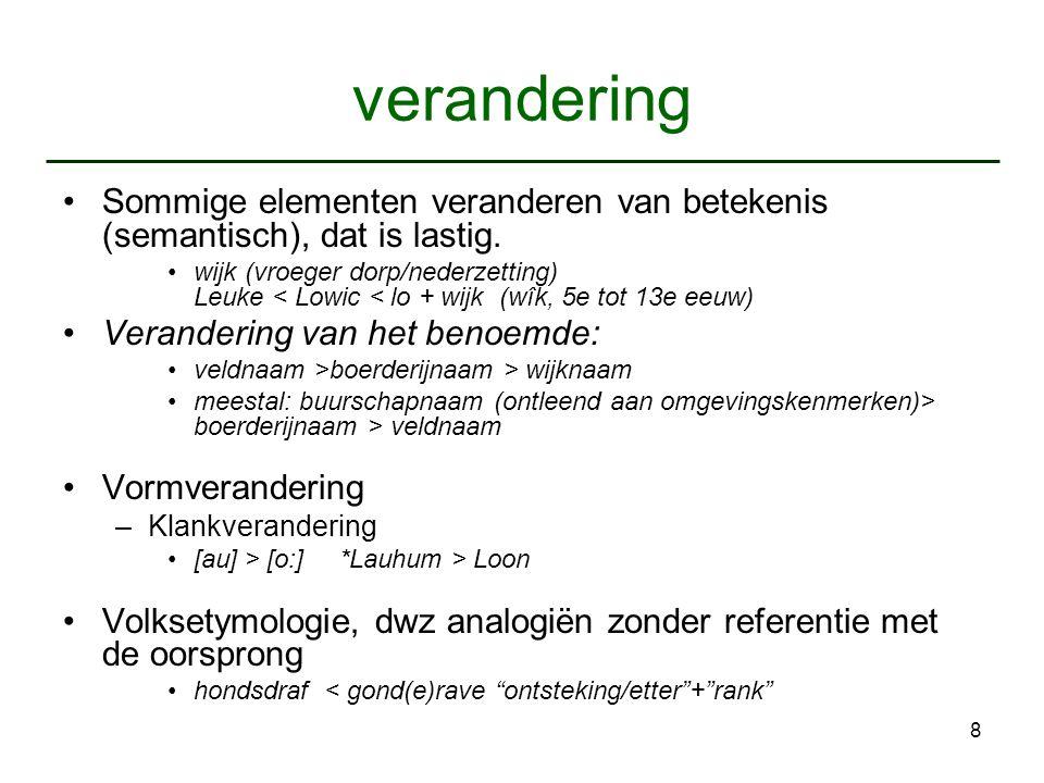 verandering Sommige elementen veranderen van betekenis (semantisch), dat is lastig.