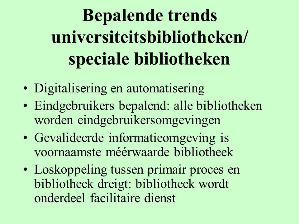 Bepalende trends universiteitsbibliotheken/ speciale bibliotheken