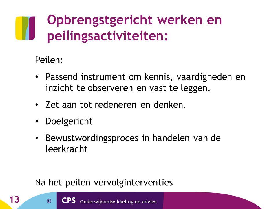Opbrengstgericht werken en peilingsactiviteiten: