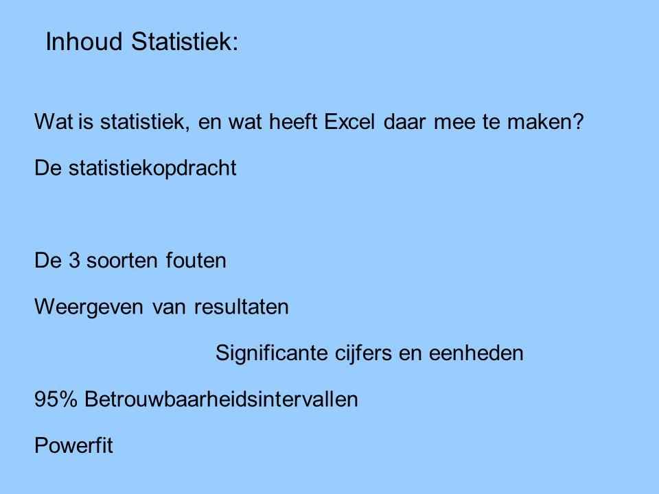 Inhoud Statistiek: Wat is statistiek, en wat heeft Excel daar mee te maken De statistiekopdracht.