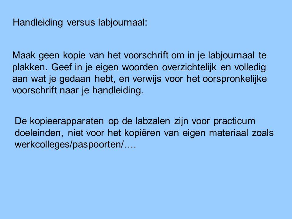 Handleiding versus labjournaal: