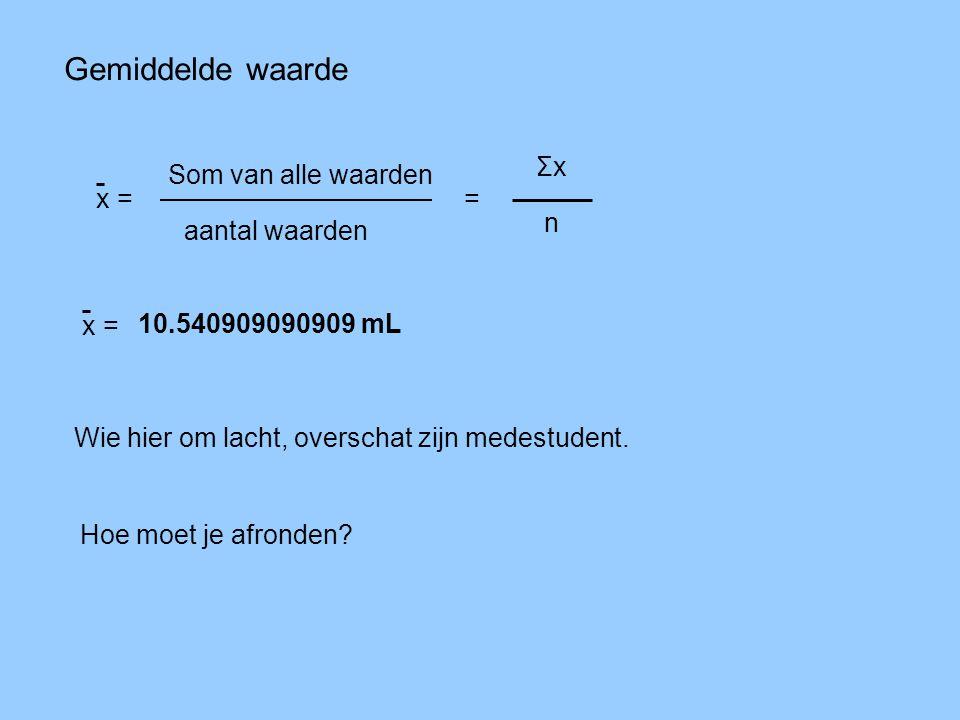 Gemiddelde waarde Σx Som van alle waarden x = = n aantal waarden