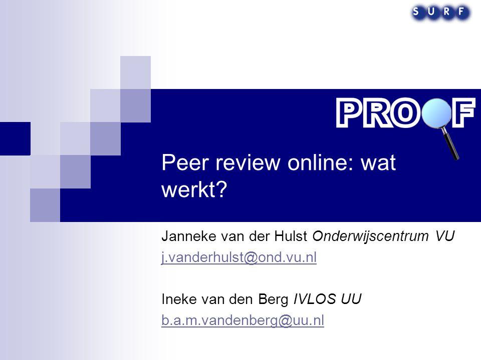 Peer review online: wat werkt