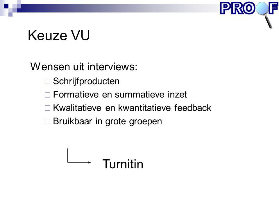 Keuze VU Turnitin Wensen uit interviews: Schrijfproducten