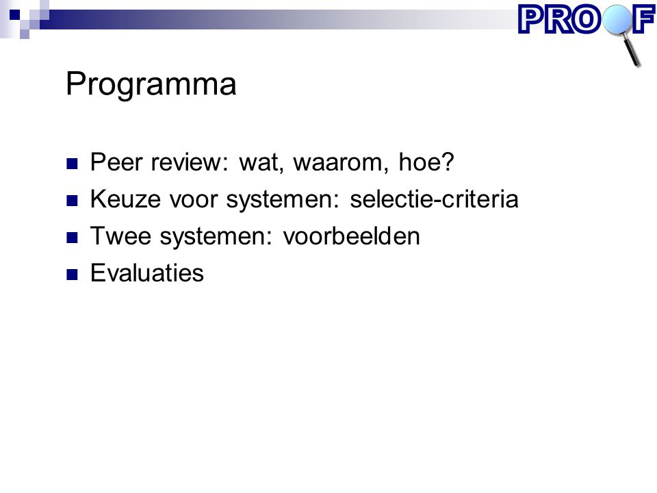 Programma Peer review: wat, waarom, hoe