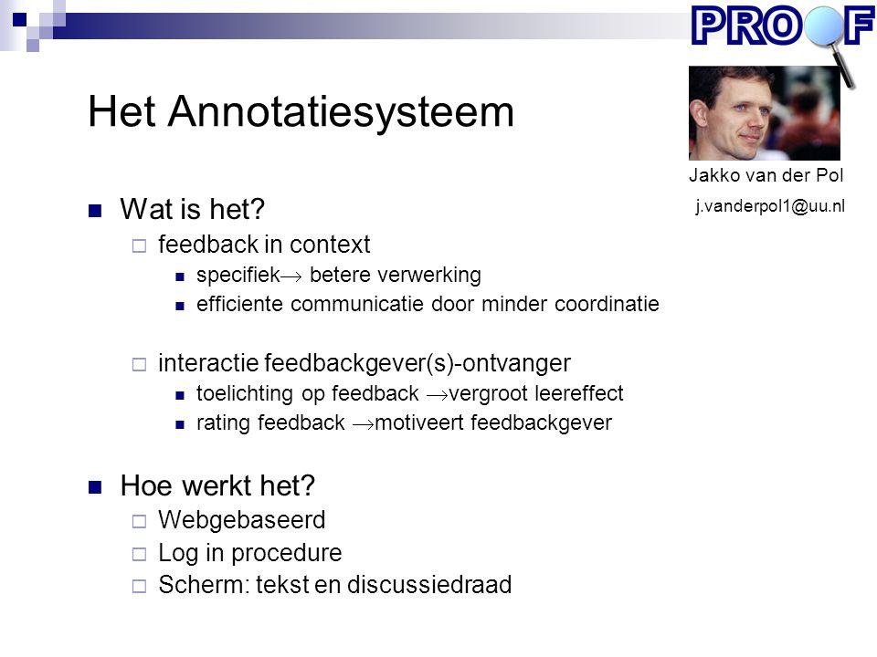 Het Annotatiesysteem Wat is het Hoe werkt het feedback in context