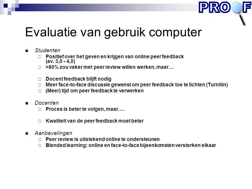 Evaluatie van gebruik computer