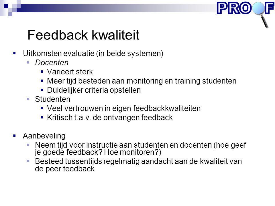 Feedback kwaliteit Uitkomsten evaluatie (in beide systemen) Docenten