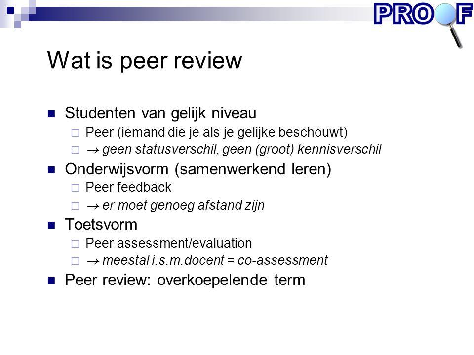 Wat is peer review Studenten van gelijk niveau