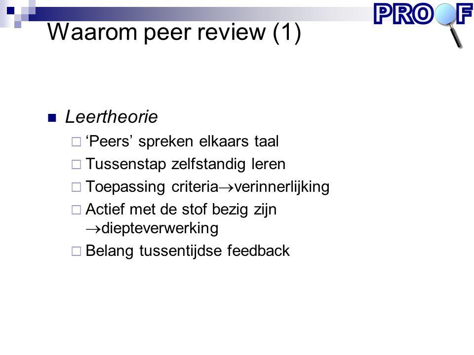 Waarom peer review (1) Leertheorie 'Peers' spreken elkaars taal