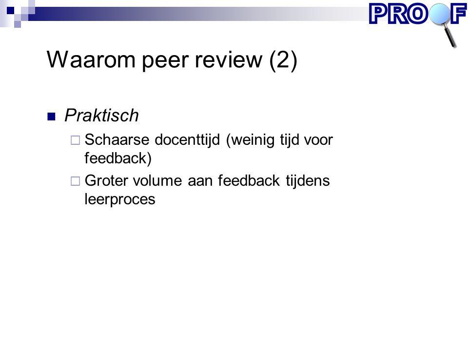 Waarom peer review (2) Praktisch