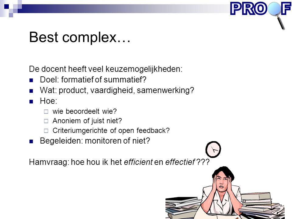 Best complex… De docent heeft veel keuzemogelijkheden: