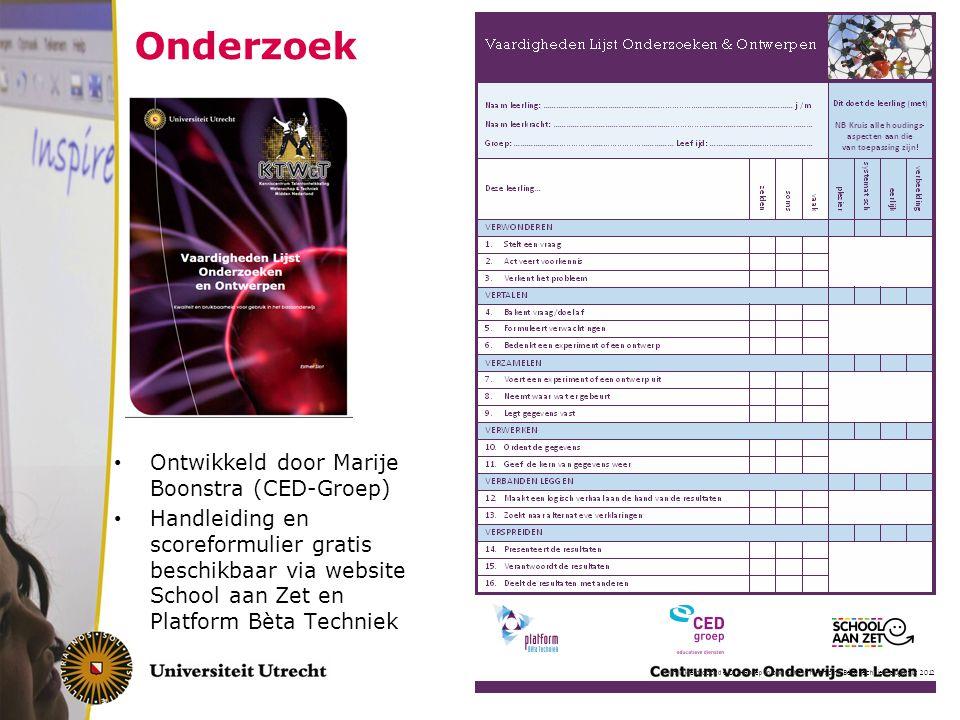 Onderzoek Ontwikkeld door Marije Boonstra (CED-Groep)