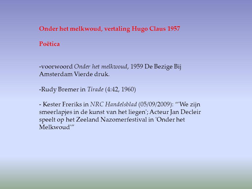 Onder het melkwoud, vertaling Hugo Claus 1957