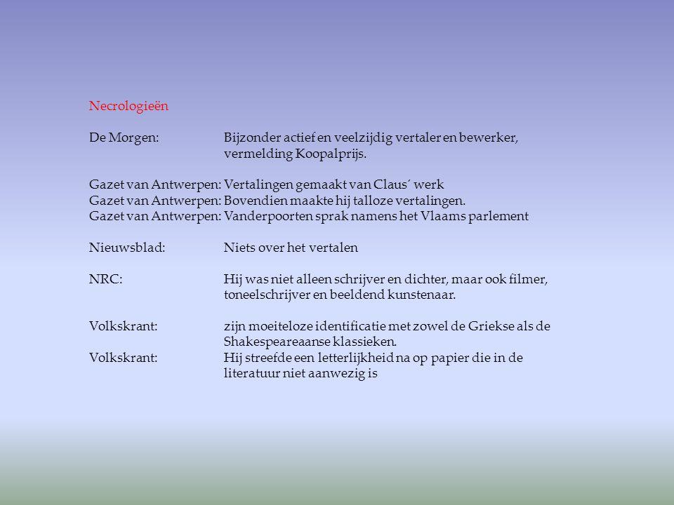 Necrologieën De Morgen: Bijzonder actief en veelzijdig vertaler en bewerker, vermelding Koopalprijs.