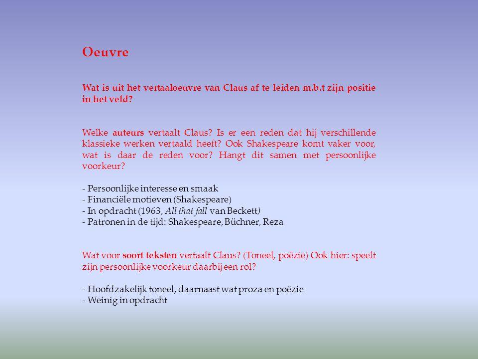 Oeuvre Wat is uit het vertaaloeuvre van Claus af te leiden m.b.t zijn positie in het veld
