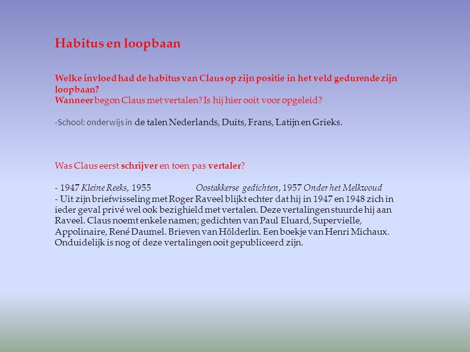 Habitus en loopbaan Welke invloed had de habitus van Claus op zijn positie in het veld gedurende zijn loopbaan