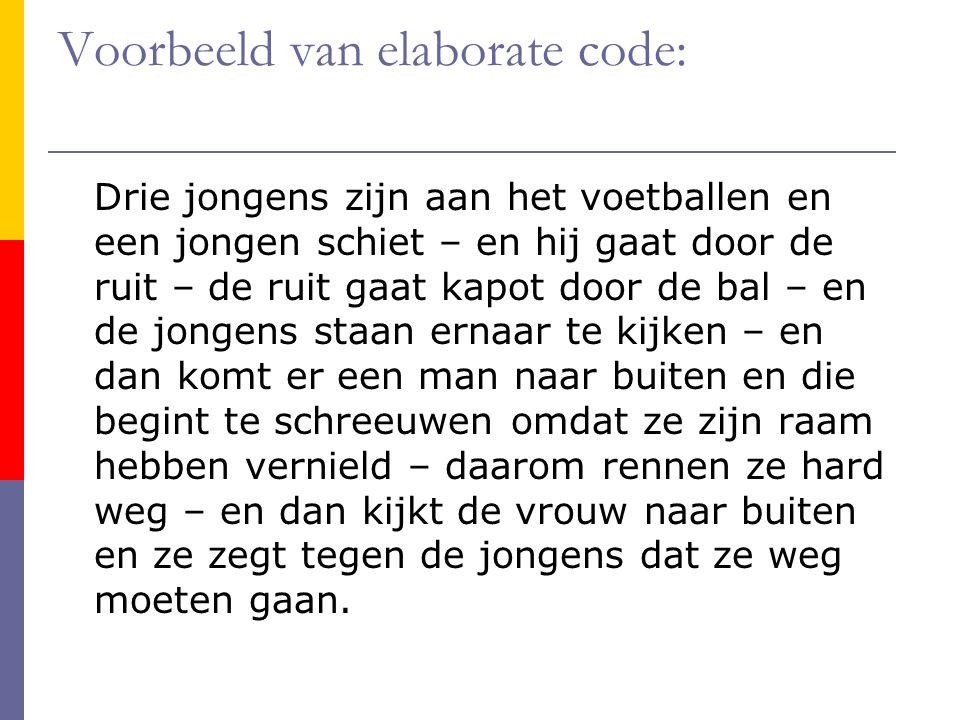 Voorbeeld van elaborate code: