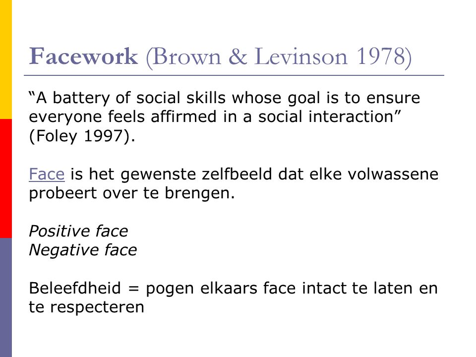 Facework (Brown & Levinson 1978)
