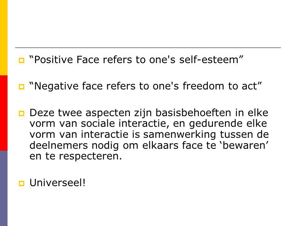 Positive Face refers to one s self-esteem