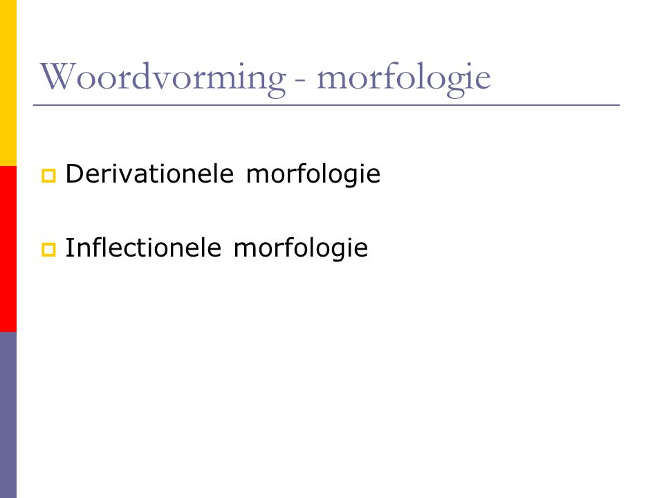 Woordvorming - morfologie