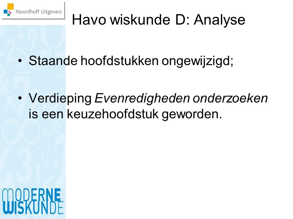 Havo wiskunde D: Analyse