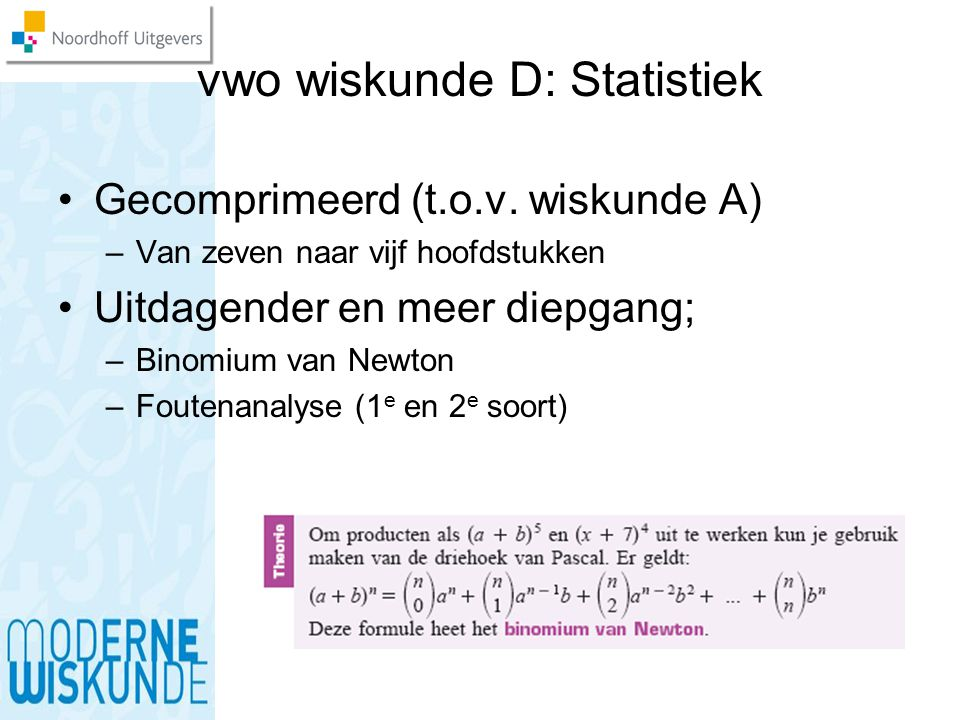 vwo wiskunde D: Statistiek