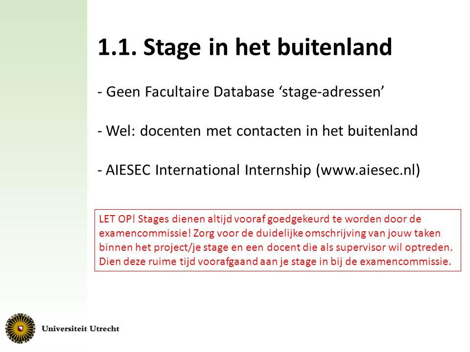 1.1. Stage in het buitenland