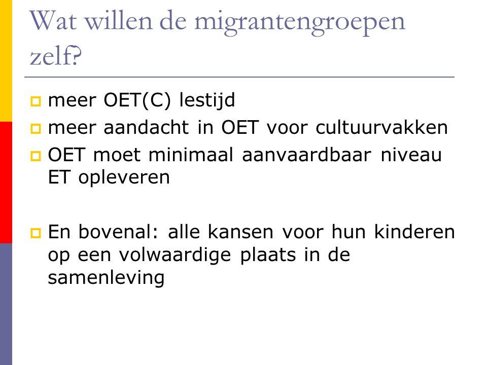 Wat willen de migrantengroepen zelf