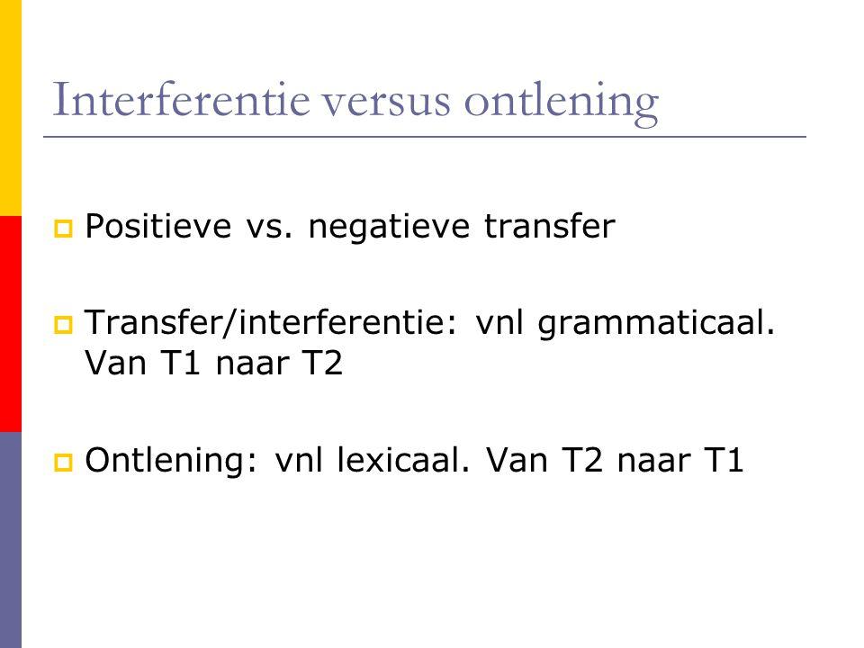 Interferentie versus ontlening
