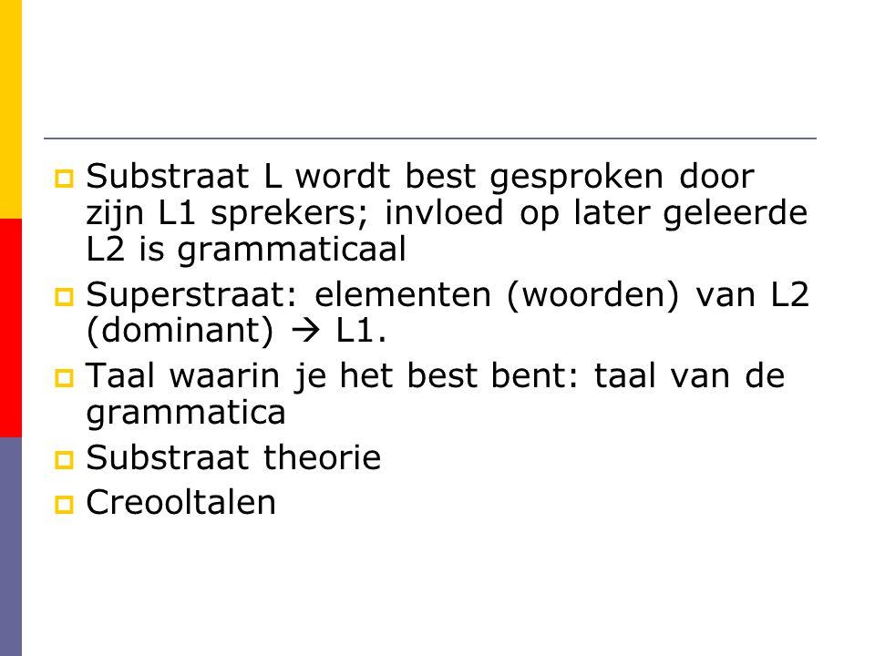 Substraat L wordt best gesproken door zijn L1 sprekers; invloed op later geleerde L2 is grammaticaal