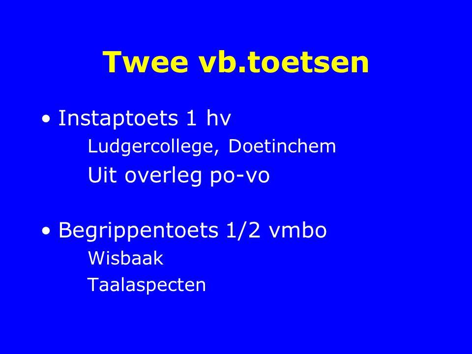 Twee vb.toetsen Instaptoets 1 hv Uit overleg po-vo