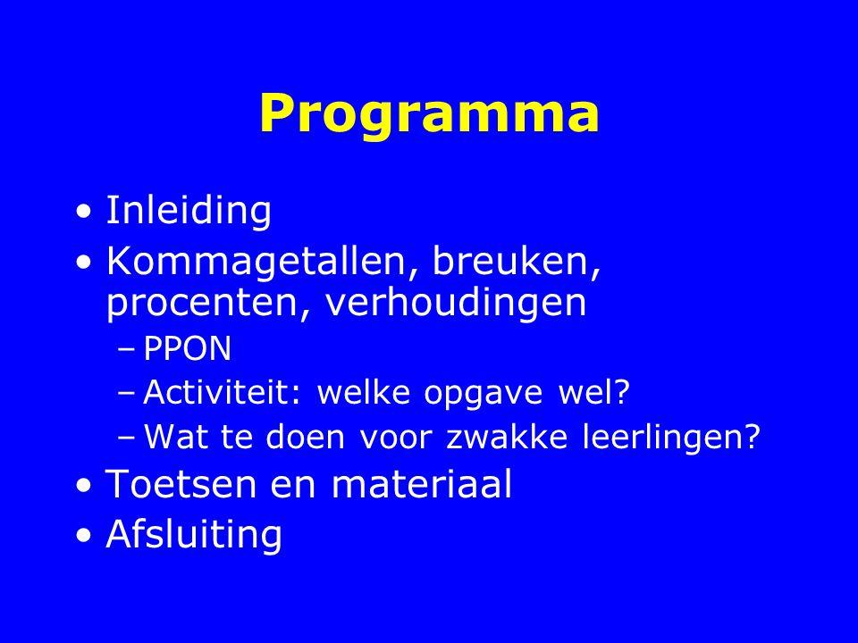 Programma Inleiding Kommagetallen, breuken, procenten, verhoudingen