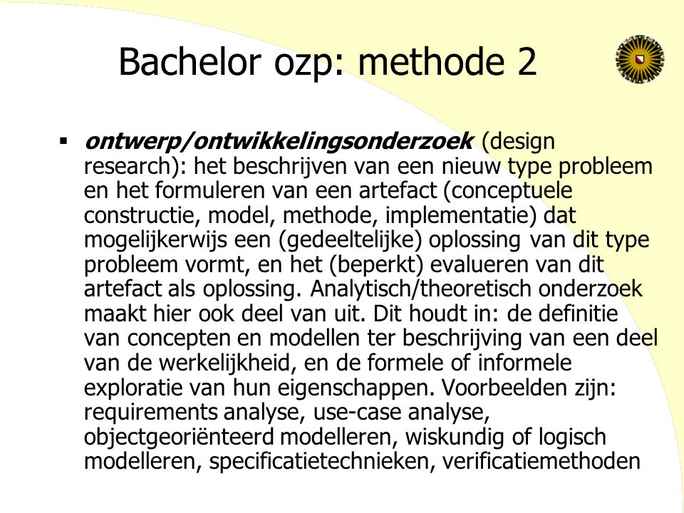 Bachelor ozp: methode 2