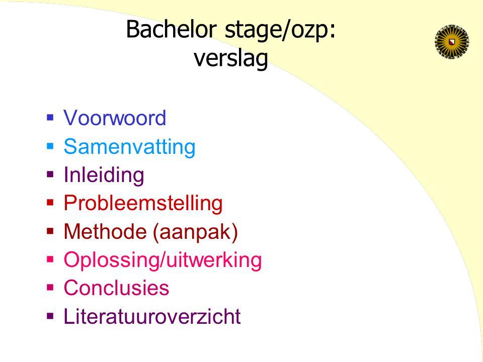 Bachelor stage/ozp: verslag