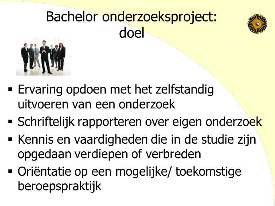 Bachelor onderzoeksproject: doel