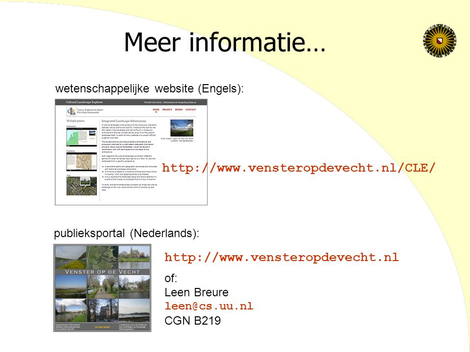 Meer informatie… http://www.vensteropdevecht.nl/CLE/