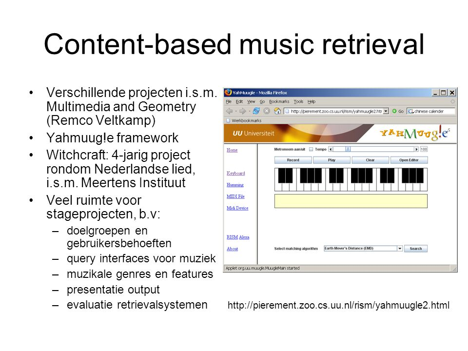 Content-based music retrieval