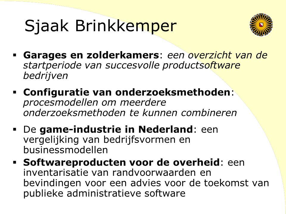 Sjaak Brinkkemper Garages en zolderkamers: een overzicht van de startperiode van succesvolle productsoftware bedrijven.