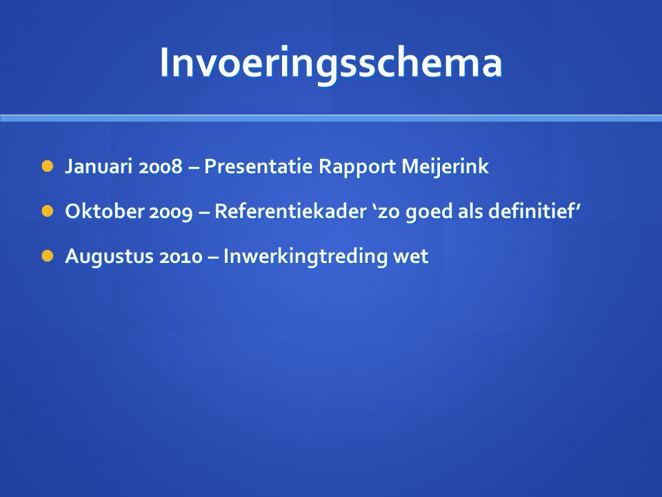 Invoeringsschema Januari 2008 – Presentatie Rapport Meijerink