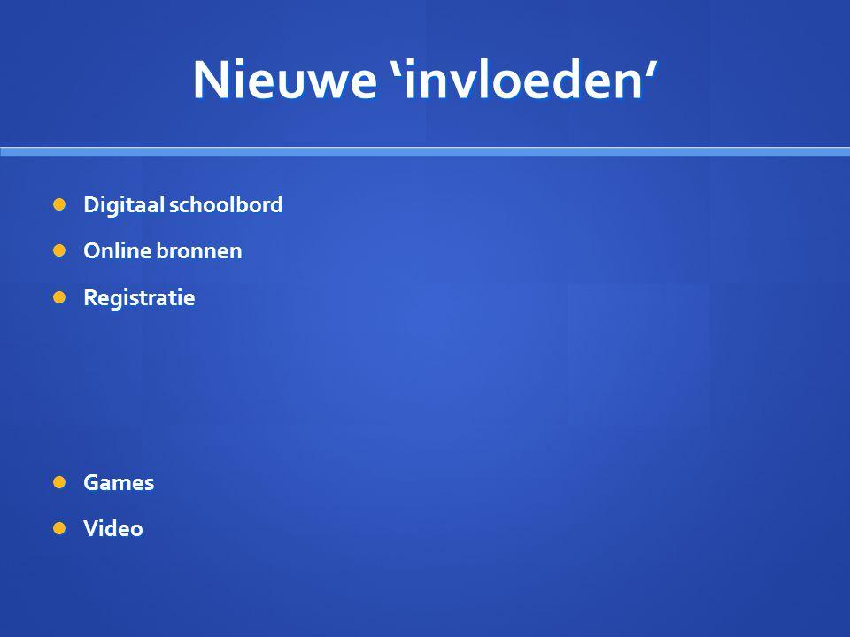 Nieuwe 'invloeden' Digitaal schoolbord Online bronnen Registratie