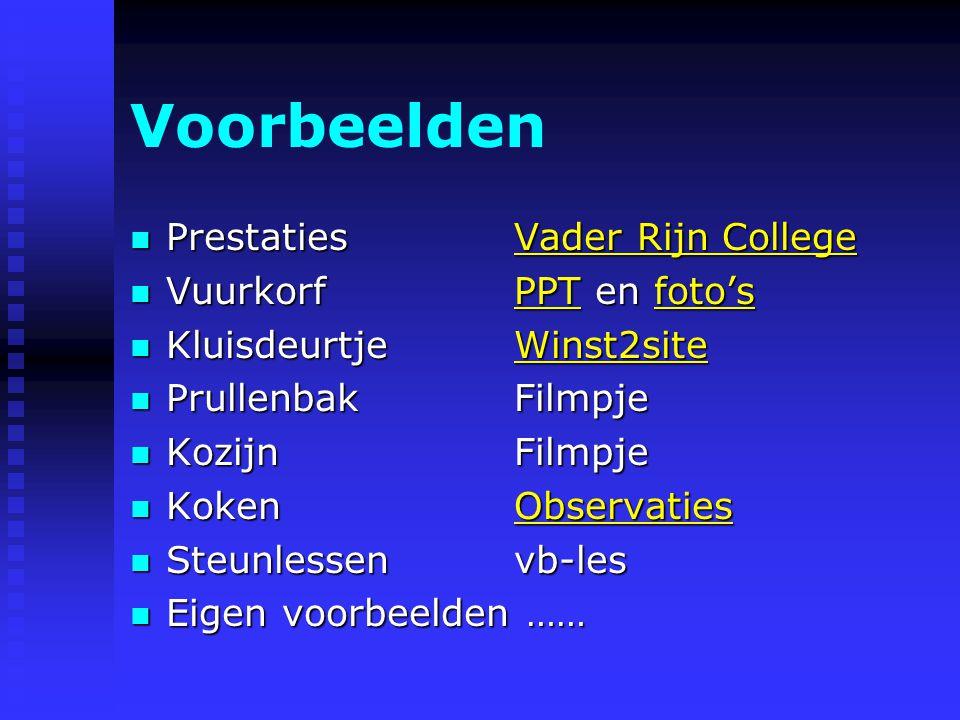 Voorbeelden Prestaties Vader Rijn College Vuurkorf PPT en foto's