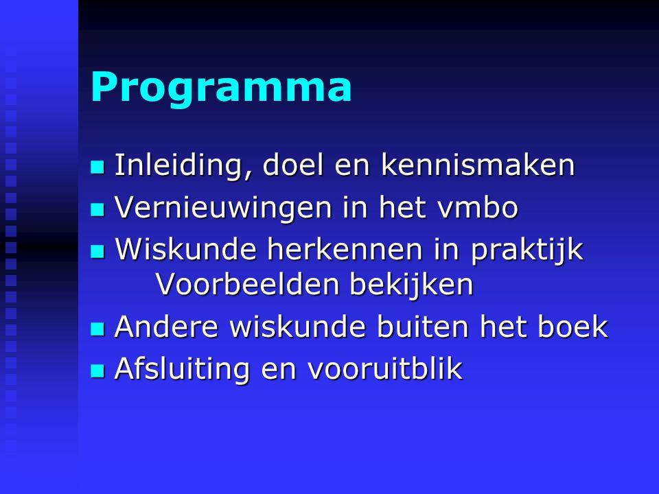 Programma Inleiding, doel en kennismaken Vernieuwingen in het vmbo