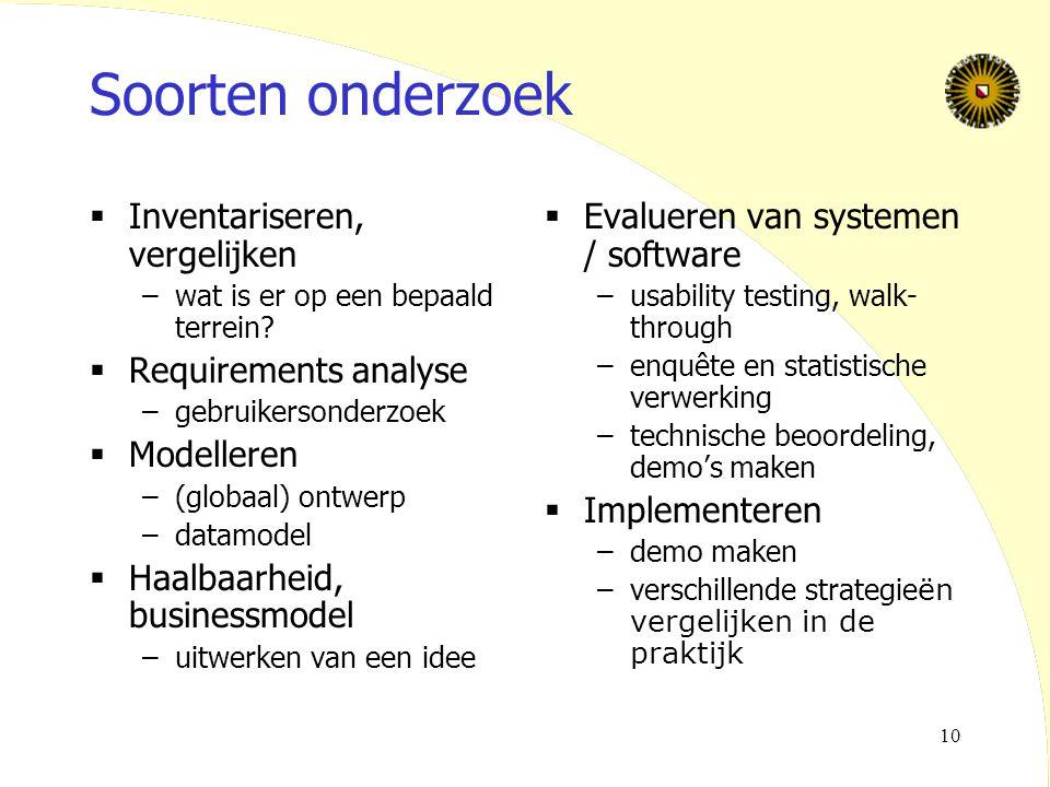 Soorten onderzoek Inventariseren, vergelijken Requirements analyse