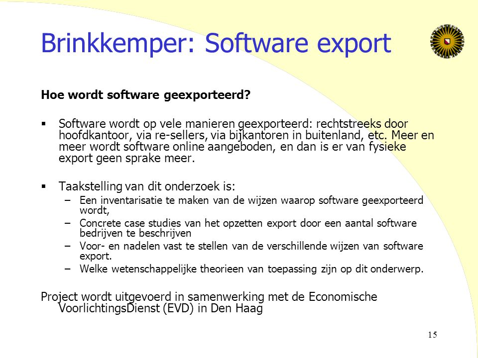 Brinkkemper: Software export
