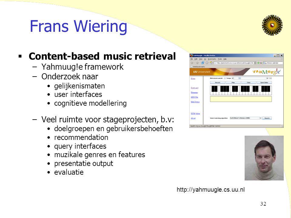 Frans Wiering Content-based music retrieval Yahmuug!e framework