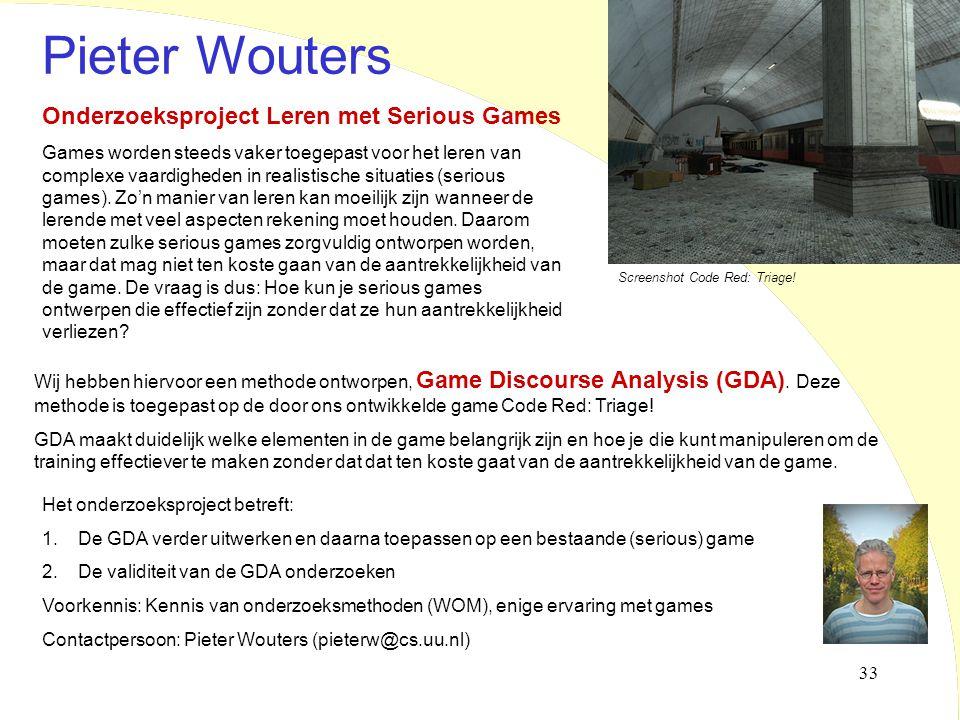 Pieter Wouters Onderzoeksproject Leren met Serious Games