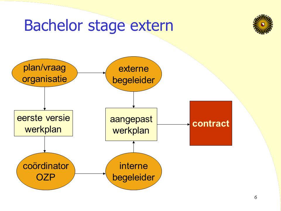 Bachelor stage extern externe begeleider plan/vraag organisatie